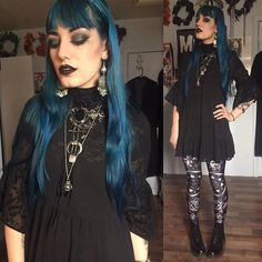 Victorian spiritualist leader 🔮Dress from TJ Maxx, lace top and Docs thrifted, leggings from Beautiful Halo, moon and crystal necklace from @restyle.pl . Last night's movie was good (and really pretty) and tonight is Ichi the Killer with my wifey. #ootd #thegothicalice #gothgoth #witchy