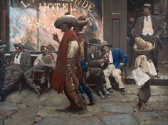 """Harvey Dunn, Harvey T. Dunn -  The Street in Santa Fe 1912  Oil on canvas, 30 inches x 40 inches  """"The Calf Path,"""" Kenneth Harris, The Saturday Evening Post, Feb. 17, 1912, p. 19 - Kelly Collection American Illustration Art"""