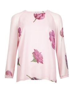 Pin to win a $800 shopping spree for you and a friend at http://www.tedbaker.com/pinpointed/ || Tulip print top - Pale Pink | Tops & Tees | Ted Baker