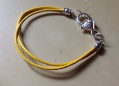 Yellow Gold Leather Heart Awareness Bracelet-Child by Hopelisa