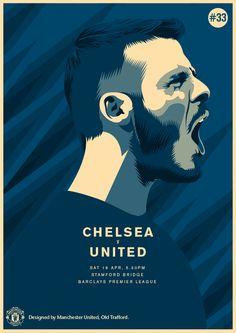Match poster. Chelsea vs Manchester United, 18 April 2015. Designed by @manutd