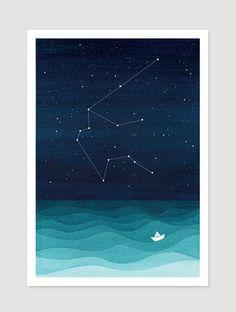 Watercolor painting Aquarius zodiac constellation water by VApinx