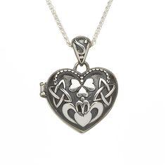 Oxidised Silver Heart Shamrock Claddagh Locket BL106