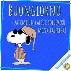 Datemi un caffè e solleverò mezza palpebra ! (Buongiorno divertente Snoopy) Snoopy Love, New Years Eve Party, Emoticon, Good Morning, Improve Yourself, Humor, Funny, Sink Tops, Frases