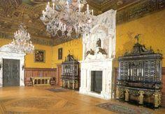 Peles Castle, Florentine Hall - Romania White Fireplace, Brick Fireplace, Romanian Castles, Peles Castle, Masonry Paint, Palace Interior, Castle Wall, Old Bricks, Beautiful Castles