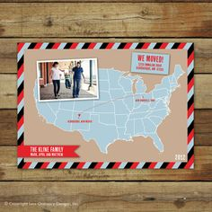 Map photo moving announcement