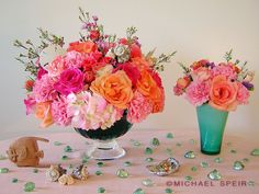 Caribbean Carnival Coral Centerpiece :  wedding bouquet carnations carnival coral diy flowers fuchsia hydrangea inspiration low nautical ora...