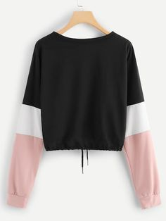 Shop Drawstring Hem Color Block Sweatshirt at ROMWE, discover more fashion styles online. Color Blocking Outfits, Girl Outfits, Cute Outfits, Fashion Outfits, Colorful Hoodies, Cute Jackets, Cropped Hoodie, Aesthetic Clothes, Fashion News
