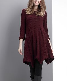 Look at this Burgundy Cable-Knit Handkerchief Tunic on #zulily today!
