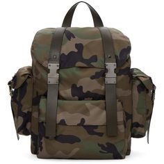Valentino Green Valentino Garavani Camo Rockstud Rucksack (2,355 CAD) ❤ liked on Polyvore featuring men's fashion, men's bags, men's backpacks, green, mens drawstring backpack and mens camo backpack