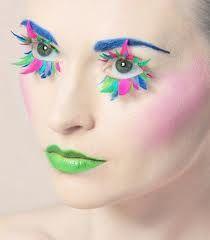 Rainbow feather eyelashes, green lips & blue eyebrows