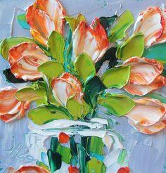 Oil Painting Impasto Orange Tulips by IronsideImpastos on Etsy, $40.00