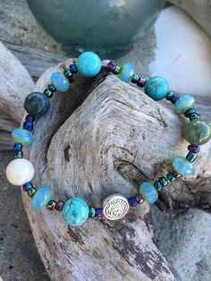 Beachy boho beaded bracelet.  Round turquoise by SunnybeachDesign