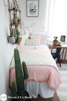 Fab teen bedding and teen bedroom décor Perfect teen room makeover Peach & Green Cactus Designer Teen Girl Bedding Set #ad