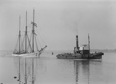 Alma Doepel being towed up the Yarra River around 1930's - The Alma Doepel is a three masted topsail schooner, Australian built and operated, with more than a hundred years of history behind her. She is currently under restoration in Shed 2 North Wharf Road Docklands, Melbourne.