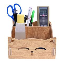BCP Wood DIY Assemble Cute Cat Pen Pencil / Cosmetic Holder Desk Organizer for Home, Office (Light Brown Color)