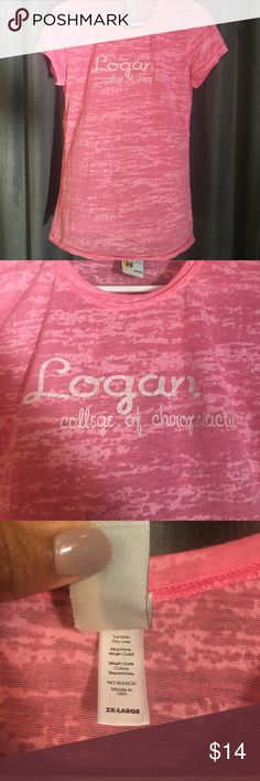 Logan College of Chiropractic Top Pink and white tie dye look. Size 2XL, but fits more like a medium. Runs VERY small. Only worn twice! Tops Tees - Short Sleeve