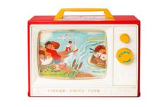 Since its introduction in 1966, the Two Tune Music Box TV from Fisher-Price continues to entertain young children through its ease-of-play and simple design. #vintagetoys #fisherprice
