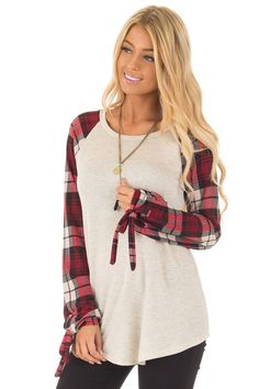 776346ccab Lime Lush Boutique - Burgundy Plaid Tie Sleeve Raglan Top