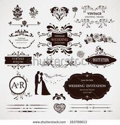 Elementos em desenho vetorial e decorações de caligrafia para páginas web de casamento