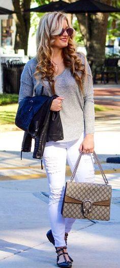 #spring #outfits / Grey Knit / White Ripped Skinny Jeans / Black Studded Pumps / Grey Shoulder Bag