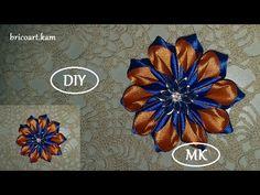 DIY/How to/Brooch Tutorial/Kanzashi flower/Ribbon flowerMK/канзаши/Брошь: bricoart.kam - YouTube