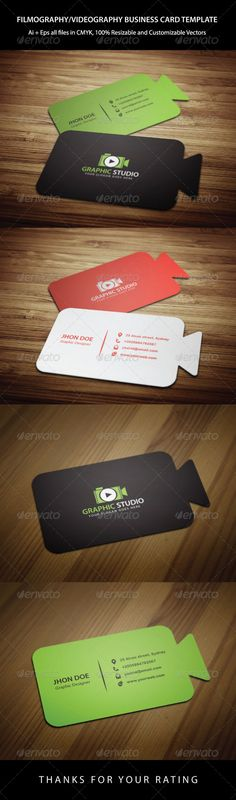 Buy Cinematography Business Card Template by kazierfan on GraphicRiver. An excellent business card template which is suitable for any cinematography, filmography, video or anything related. Business Card Maker, Business Video, Unique Business Cards, Business Logo, Business Flyer, Business Card Design, Creative Business, Name Card Design, Collateral Design