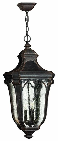 View The Hinkley Lighting H1312 3 Light Outdoor Lantern Pendant From The  Trafalgar Collection   Front