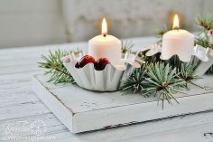 repurposed metal tins christmas candeholder centerpiece, repurposing upcycling, seasonal holiday d cor