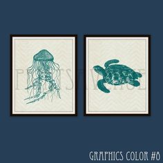 JELLYFISH Art Print, Sea TURTLE Wall Art, BEACH Wall Decor, Seaside Cottage Art