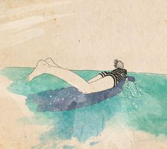 Paddler - ink, watercolour & collage illustration print on archival paper  Emily Hamilton