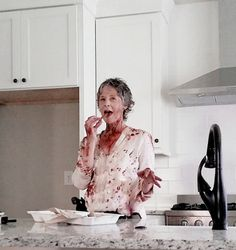 Melissa McBride Behind The Scenes  amcthewalkingdead:Sometimes, after a long day of slaying wolves and walkers…all you want to do is kick back, relax, and have some delicious french fries… #TWD #TWDFamily#MelissaMcBride  @rossmarquand