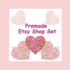 Premade Etsy shop set, retro heart, Valentine's Day, vintage shop banner icons and avatar, 8 pcs. complete design set, pink hearts Print art