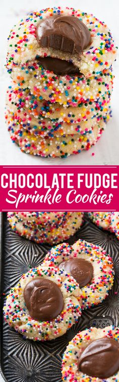 These chocolate fudge cookies with sprinkles are a soft sugar cookie topped with a rich and creamy fudge filling and finished off with rainbow sprinkles. The perfect treat for the holidays or any other festive occasion! #bakingwithbetty #ad