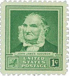 1940 1c John James Audubon - Famous Americans Series. Issued April 8, 1940 in St. Francisville, Louisiana. Scott Catalog # 874
