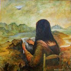 Mona Lisant ou Joconde de dos (Peinture), 80x80 cm par Christian Eprinchard peinture