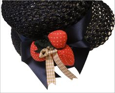 straw hat:satin and padded strawberry decor