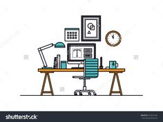 Thin Line Flat Design Of Modern Designer Workspace With Desktop Computer, Developer Work Place, Artist Equipment In Office Interior. Modern Vector Illustration Concept, Isolated On White Background. - 279072494 : Shutterstock