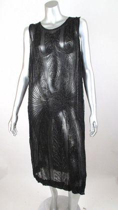 1920's Sheer Blk Silk Chiffon Heavily Beaded  Flapper Dress