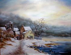 Téli reggel 40x50 cm olaj/farost ENE