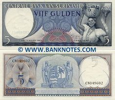 Suriname 5 Gulden 1963 Obverse: Woman with basket full of fruits. Olympic torch. Reverse: Coat of arms depicting two indians, sailing ship and a palm tree. Watermark: Parrot's head. Artist: C.A. Mechelse. Printer: Joh Enschede En Zonen. Signature: Victor Maximiliaan de Miranda (President). Date of Issue: 1 September 1963.