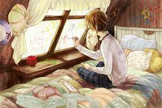 ✮ ANIME ART ✮ anime. . .artist. . .boy. . .bedroom. . .window. . .crayons. . .drawing on walls. . .cute. . .kawaii