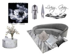 """""""Living Gray"""" by zinchik on Polyvore featuring interior, interiors, interior design, home, home decor, interior decorating, Eichholtz, Yves Delorme, Worlds Away and Orrefors"""