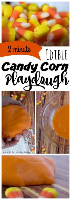2 minute, EDIBLE Candy Corn Playdough Recipe - this candy corn craft is made from an easy candy corn recipe to make homemade playdough from halloween candy - Candy Corn! Easy, Edible, and uses only 2 ingredients! Perfect fall activity for kids from Easy Fall Crafts, Fall Crafts For Kids, Diy For Kids, Kids Crafts, Daycare Crafts, Help Kids, Autumn Activities For Kids, Halloween Activities, Preschool Halloween
