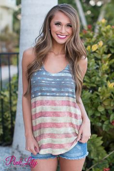 Show your pride in this super cute tank! We love the colors and american flag look! It's perfect to wear for Fourth of July or for an easy, everyday look!