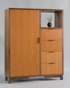 Modern Walnut & Lacewood Veneer Cabinet