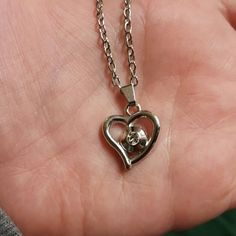 Heart necklace Silver colored heart necklace. Pendant and chain. Jewelry Necklaces