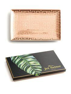 Jet Setter Tray Greek Key Pink & Gold Large