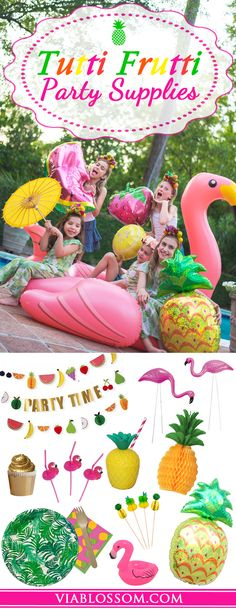 You will love our Tutti Frutti Party Decorations!!! We have everything you'll need for an amazing Tropical Party!!! Our party supplies are also perfect for a Flamingo Party or a Pineapple Party!