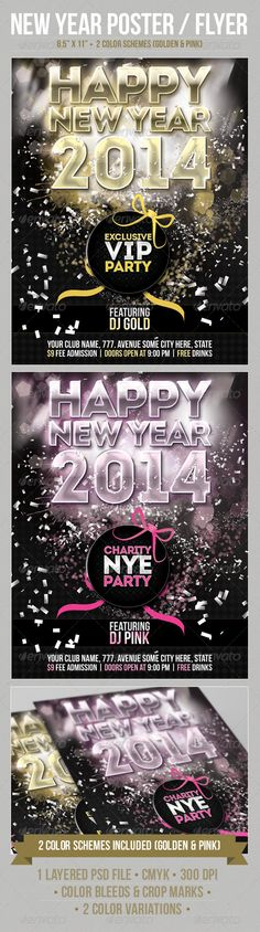 Happy New Years Eve Flyer Flyer template, Event flyers and Template - new year poster template